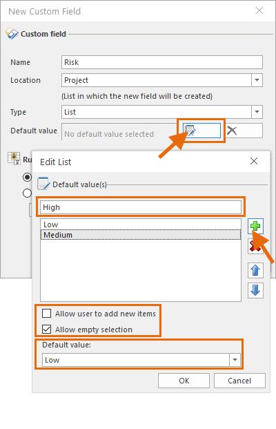 Set default value of custom field