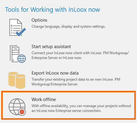 InLoox for Outlook: Work Offline