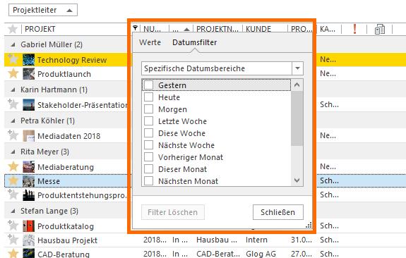 InLoox Hilfe: Erweiterte Filterfunktionen in den Tabellen-Ansichten