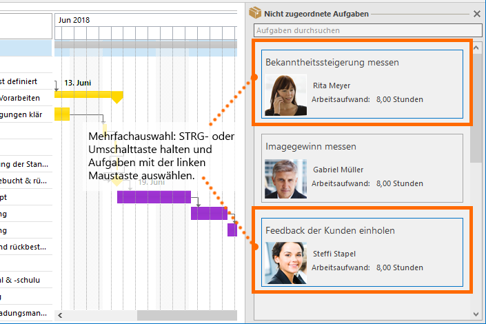 InLoox Hilfe: Mehrere Aufgaben gleichzeitig in die Planung ziehen