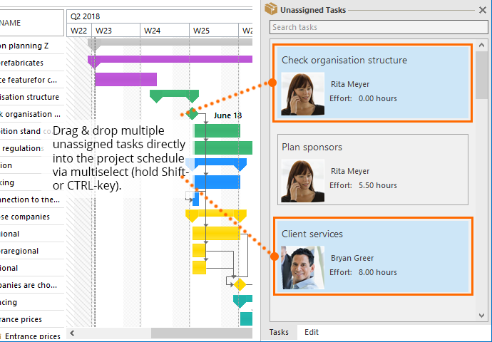 InLoox for Outlook: Add multiple tasks at once to the project schedule