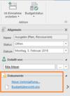 InLoox Hilfe: Dokumente mit Budgets verknüpfen