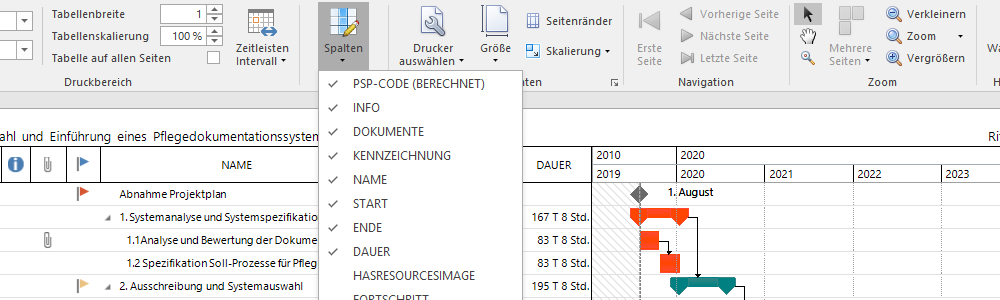 InLoox for Outlook 10 - Online Help - Print Planning