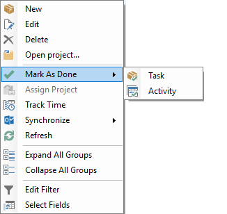 Context menu mark as done