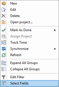 Context menu task list