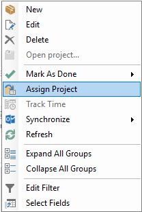 Context menu assign project