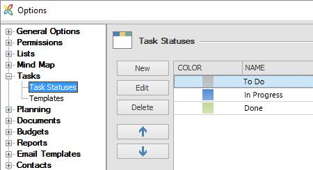 Options task status