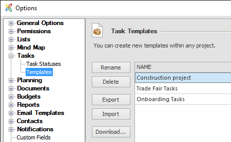 Options task templates