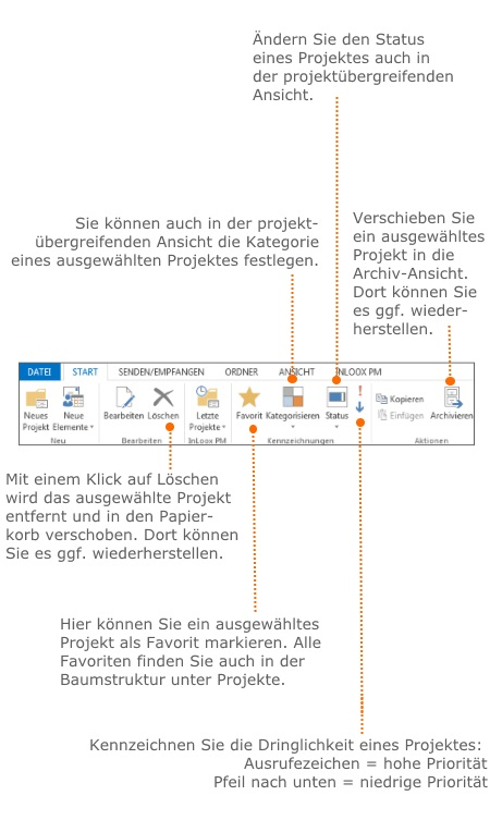 InLoox PM bzw. InLoox now Ribbon in der Projektliste
