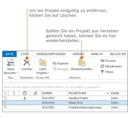 Baumstruktur-Ansichten in der Projektliste - Papierkorb