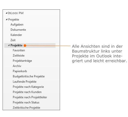 Die Baumstruktur finden Sie auf der linken Bildschirmseite direkt in Outlook integriert