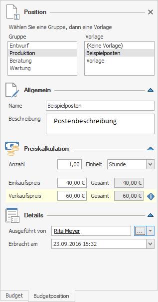 Budgets - Edit Budget Item