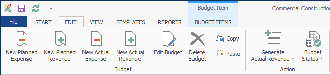 Budgets - Ribbon Create New Budgets