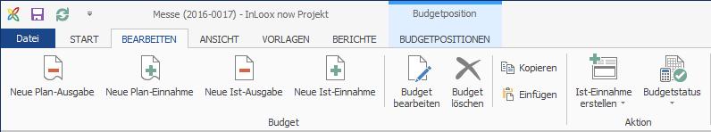 Budgets - Ribbon Create New Budgets