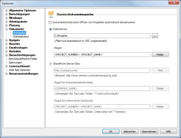 Ändern des Dokumentenordnerpfades in den InLoox PM Optionen