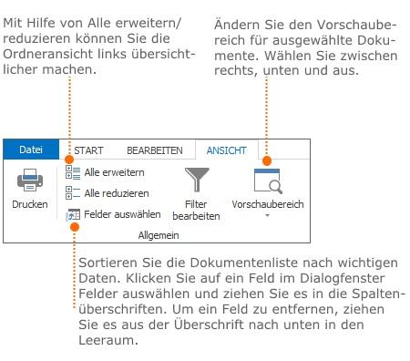 Funktionen auf der Registerkarte Ansicht