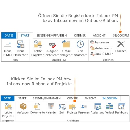 InLoox PM oder InLoox now Registerkarte und Ribbon