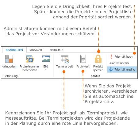 Hinzufügen von weiteren Projektinformationen