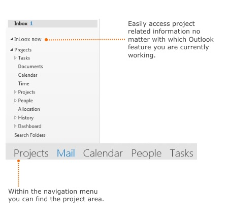 InLoox 9 in the Outlook side panel