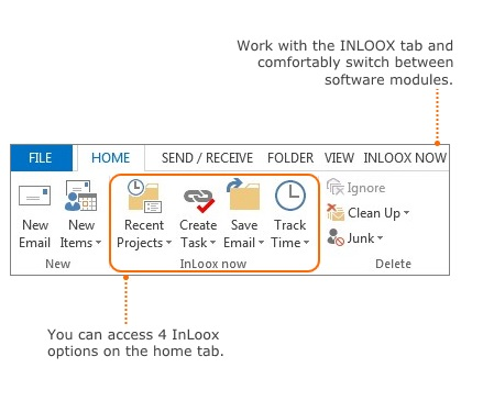 Here you can find your projectmanagement software InLoox in Outlook