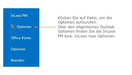 Die InLoox PM bzw. InLoox now Optionen