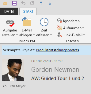 Hinweis auf abgelegte E-Mail