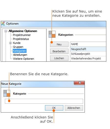 Verwalten Sie Projektkategorien in den InLoox Optionen