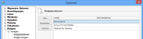 InLoox Options - Budget Items Template