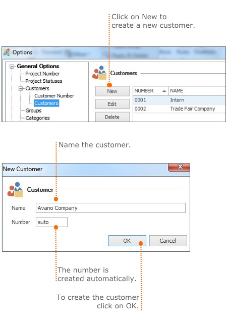How to create a new customer in the InLoox options