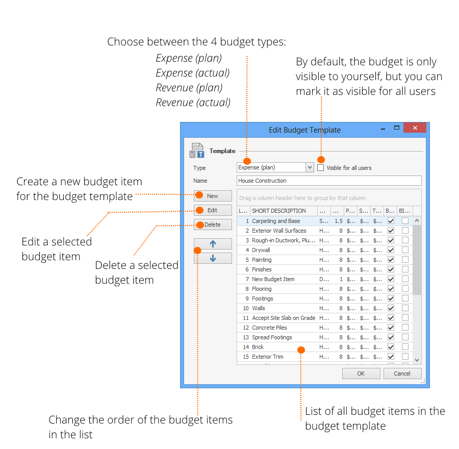 InLoox Options - Edit Budget Template Explained