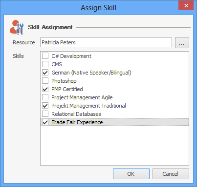 InLoox Options: Assign Skill