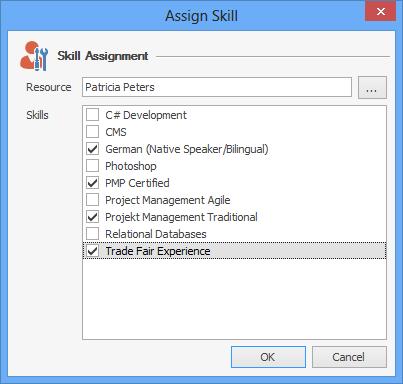 InLoox Options: Assign Skill