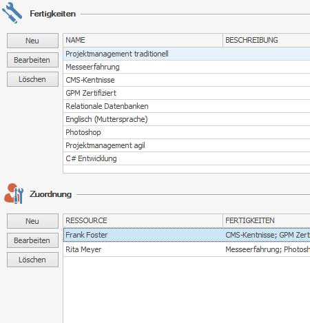 InLoox Option: Fertigkeiten und Zuordnung
