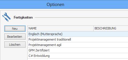 InLoox Optionen: Fertigkeiten
