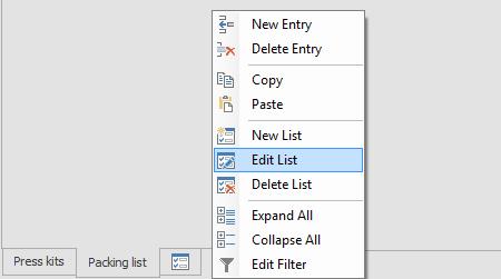 Lists: Context menu
