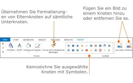 Ausgewählte Funktionen auf der Registerkarte Format