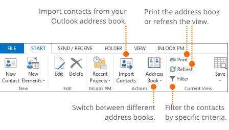Features in the address book view