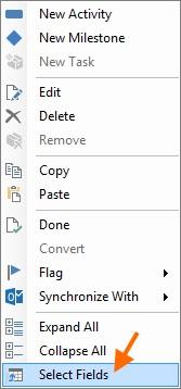 Context Menu   Select Fields