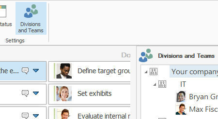 Resources - Project Tasks Show Divisions and Teams Side Panel