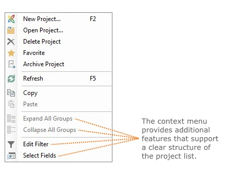 The context menu in the project list