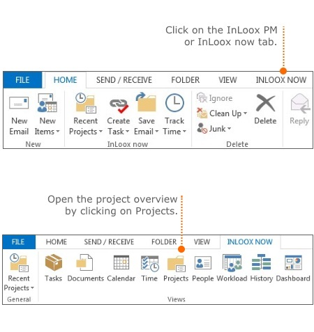 InLoox PM or InLoox now tab and ribbon