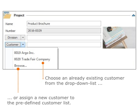 Select customer: already existing customer or safe customer in the pre-defined customer list