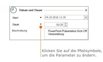Zeiterfassung - Anlegen und Bearbeiten eines Zeiterfassungseintrags - Datum und Dauer