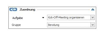 Zeiterfassung - Anlegen und Bearbeiten eines Zeiterfassungseintrags - Zuordnung
