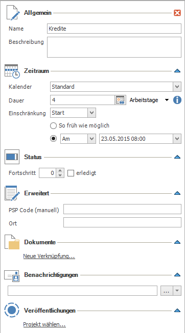 Planungselemente bearbeiten: Seitenpanel