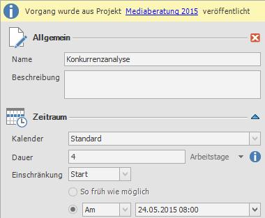 Vorgang im Zielprojekt: Seitenpanel