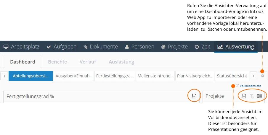 Dashboard - Vollbildansicht und Ansichtenverwaltung