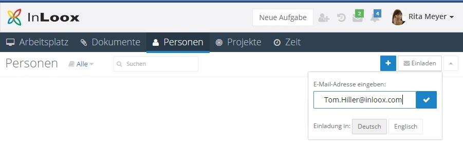 Personen - Kollegen zu InLoox Web App einladen