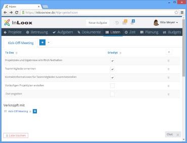 Checklisten in InLoox now! Web App