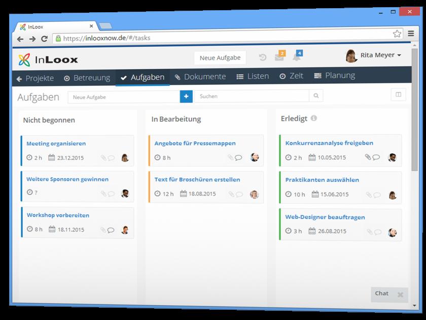 Übersichtliches Aufgabenmanagement mit InLoox now! Web App